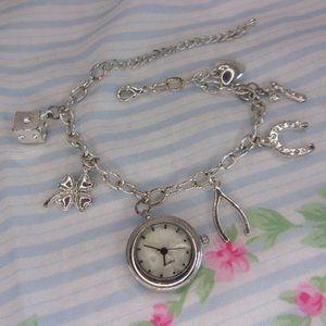 Good Housekeeping Silver Tone Charm Bracelet Watch